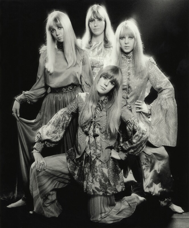Pattie Boyd; Cynthia Lennon; Maureen Starr (née Cox, later Tigrett); Helen Mary ('Jenny') Fleetwood (née Boyd), by Ronald Traeger, September 1967 - NPG x125445 - © estate of Ronald Traeger