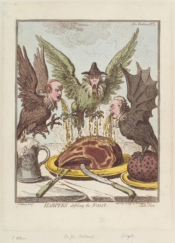 'Harpyes defiling the feast' (George Tierney; George Shuckburgh; Joseph Jekyll), by James Gillray, published by  Hannah Humphrey, published 7 May 1799 - NPG D12688 - © National Portrait Gallery, London