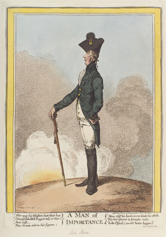 Francis Rawdon-Hastings, 1st Marquess of Hastings ('A man of importance'), by James Gillray, published by  Hannah Humphrey, published 16 May 1799 - NPG D12693 - © National Portrait Gallery, London