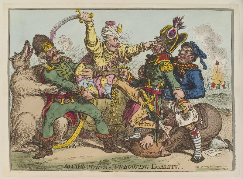 'Allied-powers, un-booting egalité' (Napoléon Bonaparte; William V, Prince of Orange?), by James Gillray, published by  Hannah Humphrey, published 1 September 1799 - NPG D12705 - © National Portrait Gallery, London
