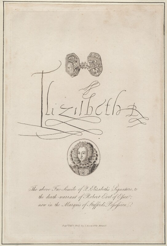 facsimile of signature of Queen Elizabeth I (incorporates facsimile of metal pattern in BM and a false portrait), after Unknown artist, published 1807 - NPG D13223 - © National Portrait Gallery, London
