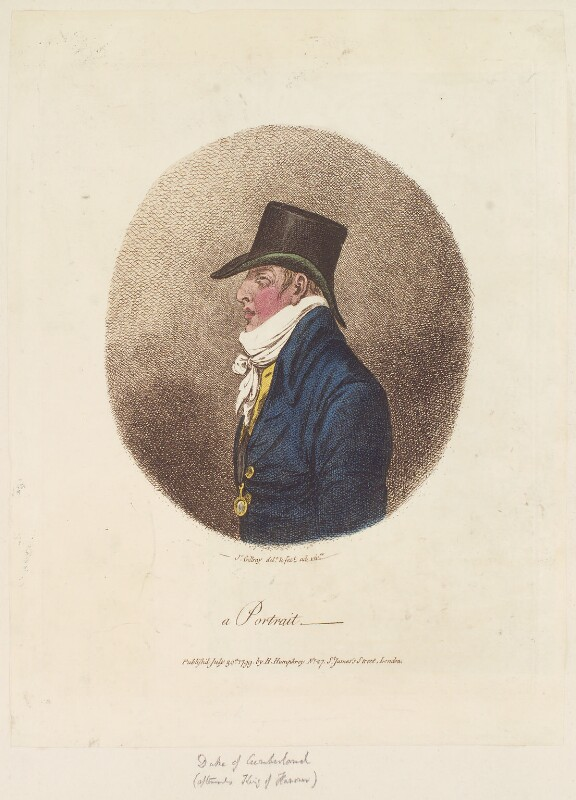 Ernest Augustus, Duke of Cumberland and King of Hanover ('A portrait'), by James Gillray, published by  Hannah Humphrey, published 30 July 1799 - NPG D12717 - © National Portrait Gallery, London