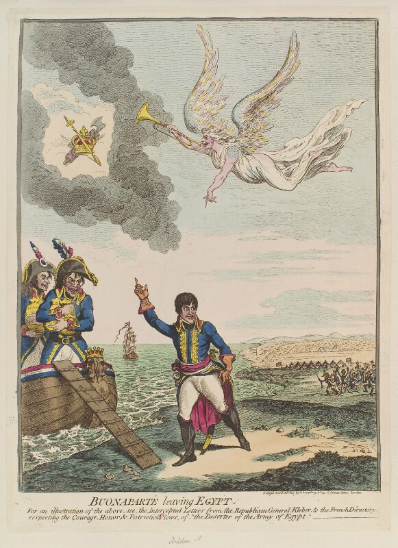 Napoléon Bonaparte ('Buonaparté leaving Egypt'), by James Gillray, published by  Hannah Humphrey, published 8 March 1800 - NPG D12727 - © National Portrait Gallery, London