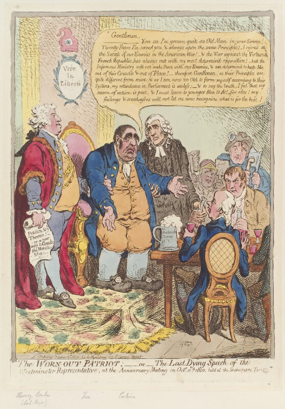 'The worn-out patriot; - or - the last dying speech of the Westminster representative', by James Gillray, published by  Hannah Humphrey, published 13 October 1800 - NPG D12742 - © National Portrait Gallery, London