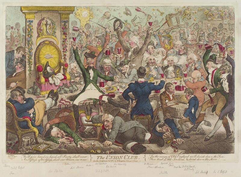 'The Union Club', by James Gillray, published by  Hannah Humphrey, published 21 January 1801 - NPG D12754 - © National Portrait Gallery, London
