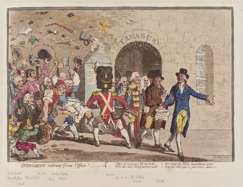 'Integrity retiring from office!', by James Gillray, published by  Hannah Humphrey, published 24 February 1801 - NPG D12756 - © National Portrait Gallery, London