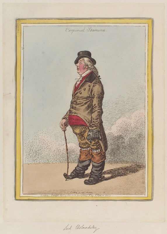 George James Cholmondeley, 1st Marquess of Cholmondeley ('Corporeal stamina'), by James Gillray, published by  Hannah Humphrey, published 13 April 1801 - NPG D12760 - © National Portrait Gallery, London