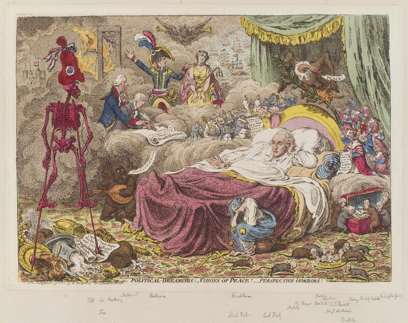 'Political dreamings! - Visions of peace! - Perspective horrors!', by James Gillray, published by  Hannah Humphrey, published 9 November 1801 - NPG D12769 - © National Portrait Gallery, London