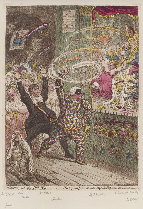 'Blowing up the Pic Nic's; - or - Harlequin Quixotte attacking the puppets', by James Gillray, published by  Hannah Humphrey, published 2 April 1802 - NPG D12786 - © National Portrait Gallery, London