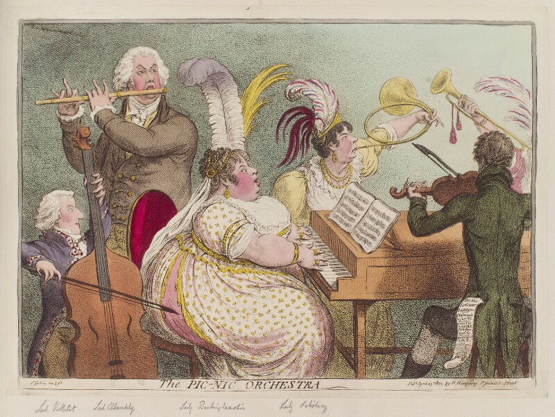'The Pic-Nic orchestra', by James Gillray, published by  Hannah Humphrey, published 23 April 1802 - NPG D12789 - © National Portrait Gallery, London