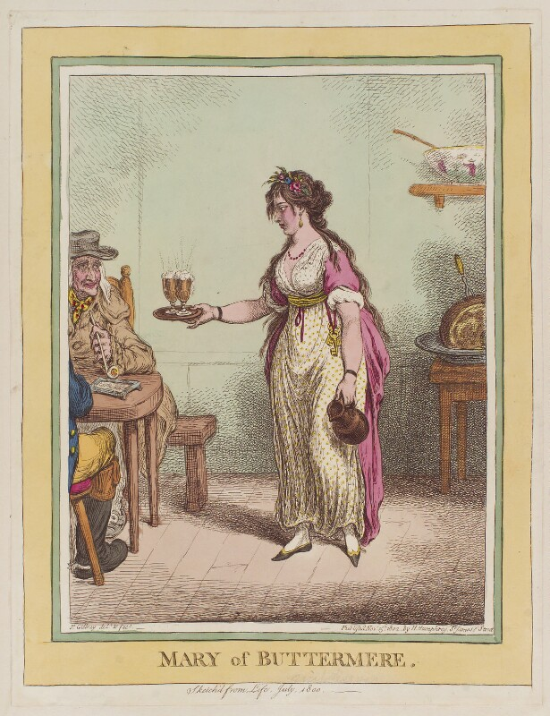 Mary Robinson ('Mary of Buttermere'), by James Gillray, published by  Hannah Humphrey, published 15 November 1802 - NPG D12793 - © National Portrait Gallery, London