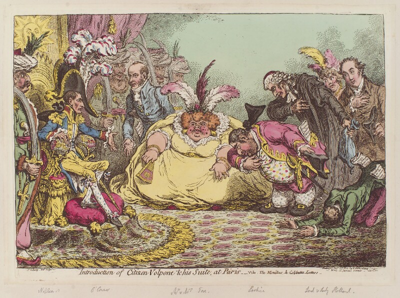 'Introduction of Citizen Volpone and his suite, at Paris', by James Gillray, published by  Hannah Humphrey, published 15 November 1802 - NPG D12794 - © National Portrait Gallery, London