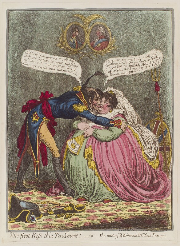 'The first kiss this ten years! - or - the meeting of Britannia and Citizen François', by James Gillray, published by  Hannah Humphrey, published 1 January 1803 - NPG D12797 - © National Portrait Gallery, London
