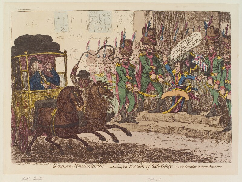 'German-nonchalence; - or - the vexation of little Boney' (Ludwig, Count Starhemberg; Napoléon Bonaparte), by and published by James Gillray, published 1 January 1803 - NPG D12798 - © National Portrait Gallery, London