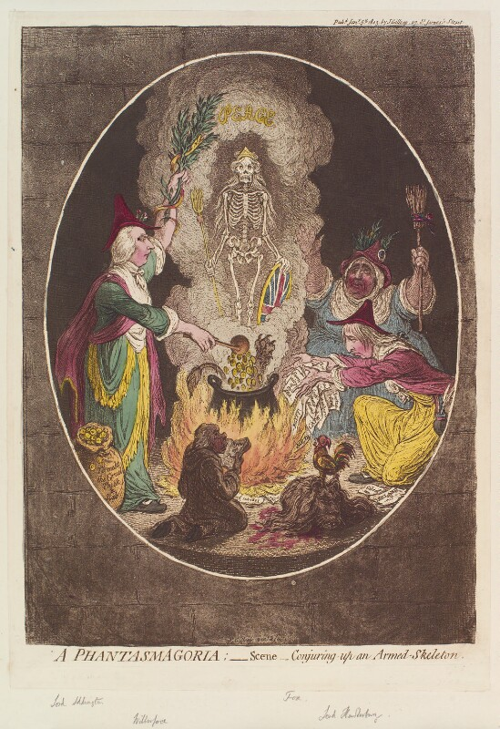 'A phantasmagoria; - scene - conjuring-up an armed-skeleton', by and published by James Gillray, published 5 January 1803 - NPG D12799 - © National Portrait Gallery, London