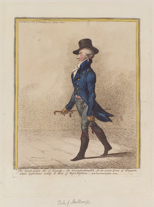 George Spencer-Churchill, 5th Duke of Marlborough ('The inexpressible air of dignity, - '), by James Gillray, published by  Hannah Humphrey, published 9 March 1803 - NPG D12802 - © National Portrait Gallery, London