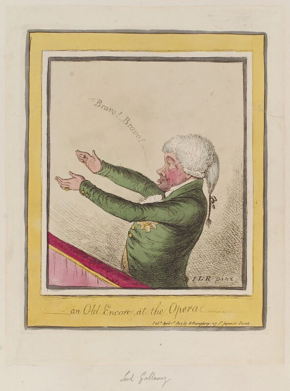 John Stewart, 7th Earl of Galloway ('An old encore, at the opera'), by James Gillray, published by  Hannah Humphrey, published 1 April 1803 - NPG D12804 - © National Portrait Gallery, London