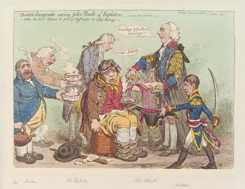'Doctor Sangrado curing John Bull of repletion - with the kind offices of young Clysterpipe & little Boney -', by James Gillray, published by  Hannah Humphrey, published 2 May 1803 - NPG D12807 - © National Portrait Gallery, London