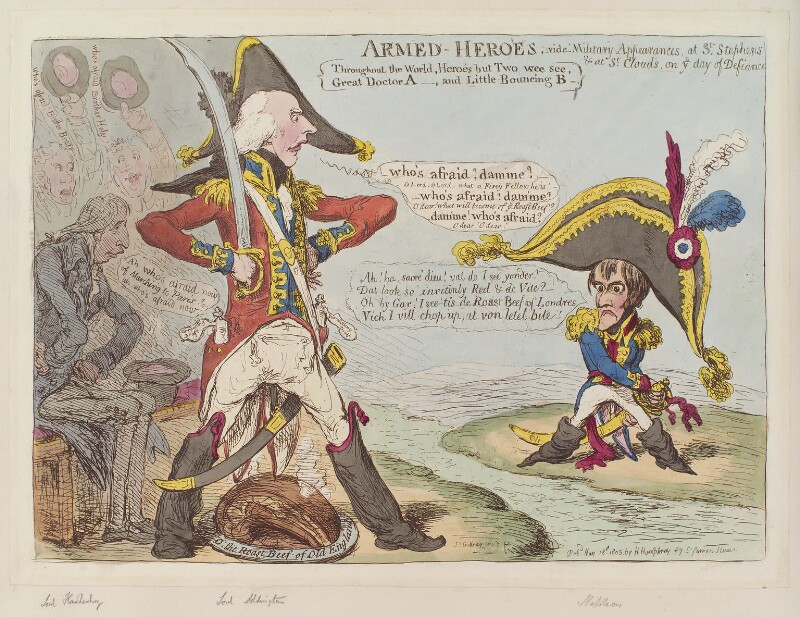 'Armed-heroes' (Robert Banks Jenkinson, 2nd Earl of Liverpool; Henry Addington, 1st Viscount Sidmouth; Napoléon Bonaparte), by James Gillray, published by  Hannah Humphrey, published 18 May 1803 - NPG D12810 - © National Portrait Gallery, London
