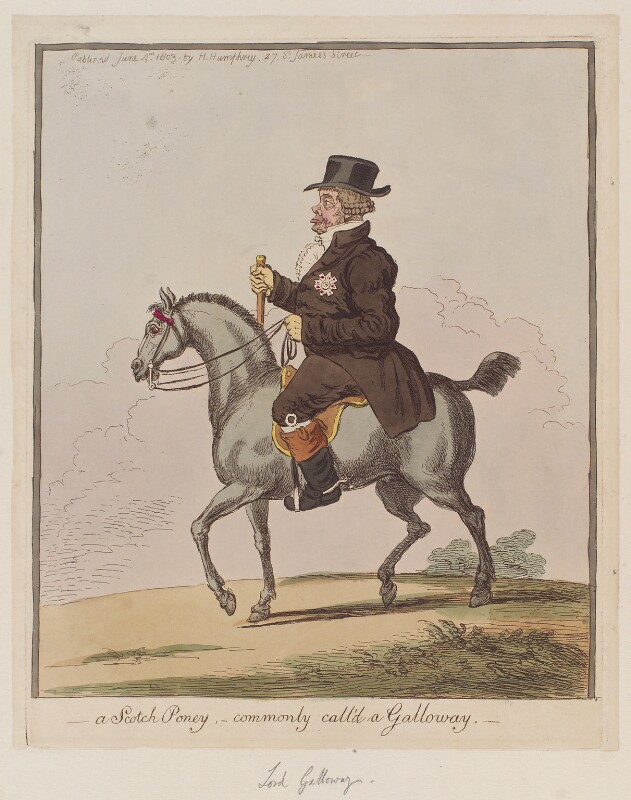 John Stewart, 7th Earl of Galloway ('A Scotch poney, - commonly call'd a Galloway'), by James Gillray, published by  Hannah Humphrey, published 4 June 1803 - NPG D12812 - © National Portrait Gallery, London