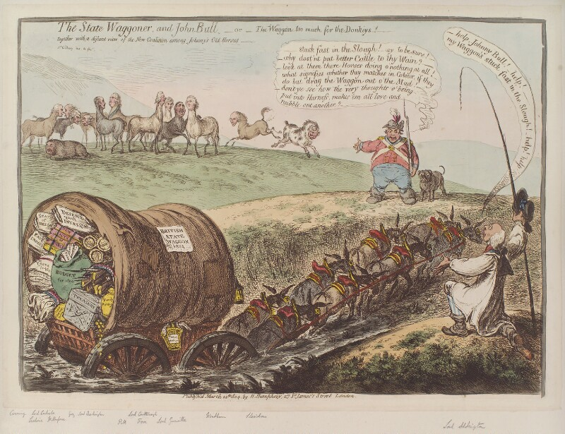 'The state waggoner, and John Bull - or - the waggon too much for the donkeys!', by James Gillray, published by  Hannah Humphrey, published 14 March 1804 - NPG D12829 - © National Portrait Gallery, London