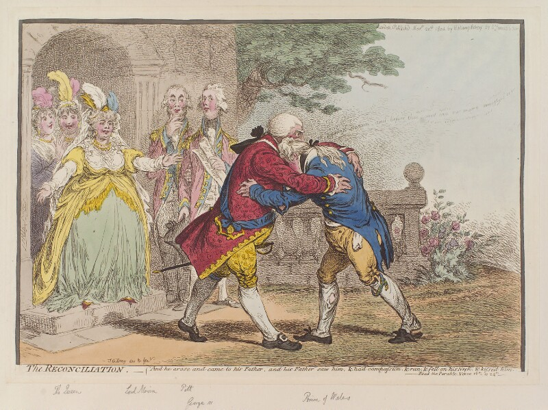 'The reconciliation', by James Gillray, published by  Hannah Humphrey, published 20 November 1804 - NPG D12833 - © National Portrait Gallery, London