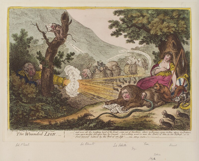 'The wounded lion', by James Gillray, published by  Hannah Humphrey, published 16 July 1805 - NPG D12847 - © National Portrait Gallery, London