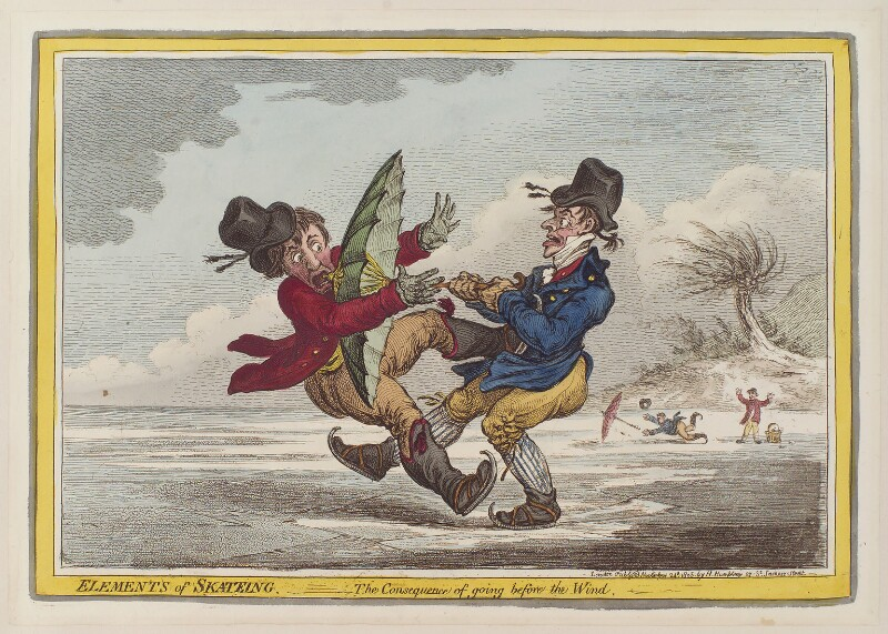 'Elements of skateing - the consequence of going before the wind', by James Gillray, published by  Hannah Humphrey, published 24 November 1805 - NPG D12854 - © National Portrait Gallery, London