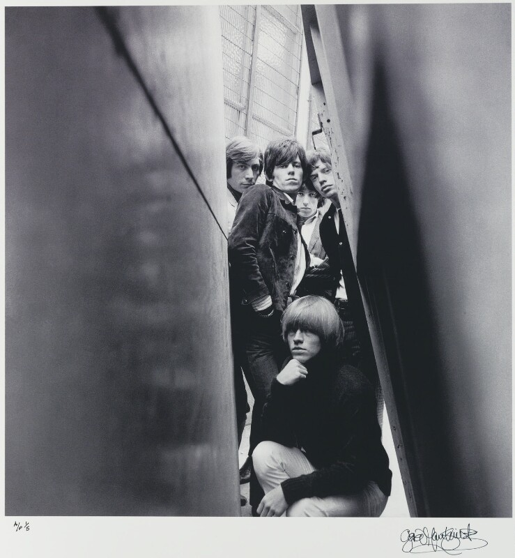 The Rolling Stones (Charlie Watts; Keith Richards; Bill Wyman; Brian Jones; Mick Jagger), by Gered Mankowitz, 1965 - NPG x88063 - Photograph by Gered Mankowitz © Bowstir Ltd 2018 / mankowitz.com