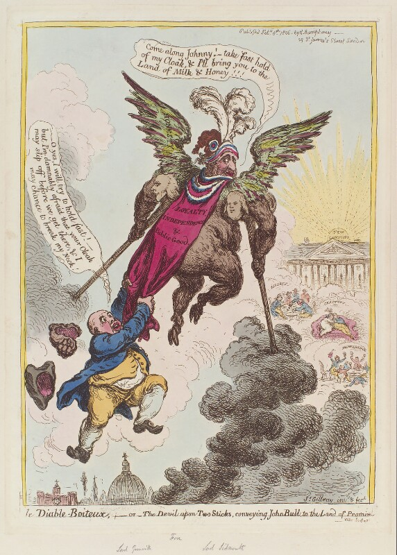 'Le diable-boiteux, - or - the devil upon two sticks, conveying John Bull to the land of promise', by James Gillray, published by  Hannah Humphrey, published 8 February 1806 - NPG D12858 - © National Portrait Gallery, London