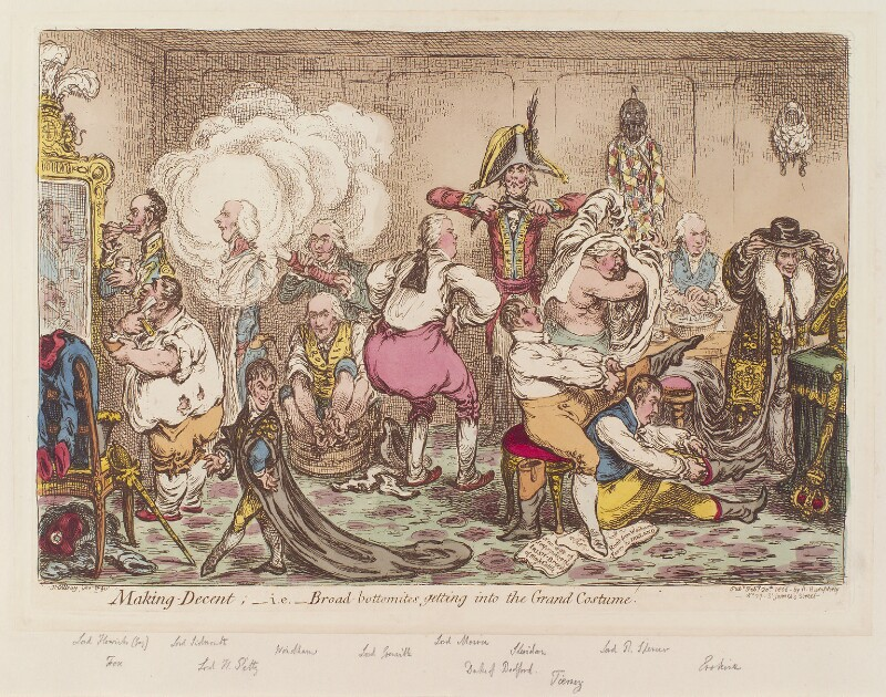 'Making-decent; - i.e. - Broad-Bottomites getting into the grand costume', by James Gillray, published by  Hannah Humphrey, published 20 February 1806 - NPG D12860 - © National Portrait Gallery, London
