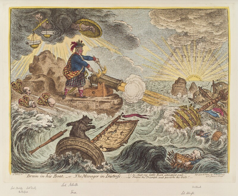 'Bruin in his boat, - or - the manager in distress', by James Gillray, published by  Hannah Humphrey, published 20 June 1806 - NPG D12869 - © National Portrait Gallery, London