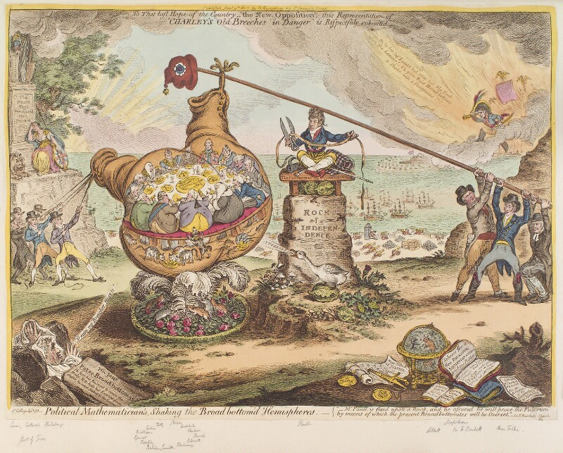 'Political mathematician's, shaking the Broad Bottom'd hemispheres', by James Gillray, published by  Hannah Humphrey, published 9 January 1807 - NPG D12884 - © National Portrait Gallery, London