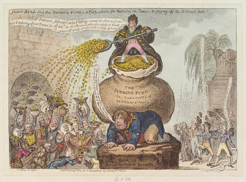 'John Bull and the sinking-fund - a pretty scheme for reducing the taxes & paying-off the national debt!', by James Gillray, published by  Hannah Humphrey, published 23 February 1807 - NPG D12885 - © National Portrait Gallery, London