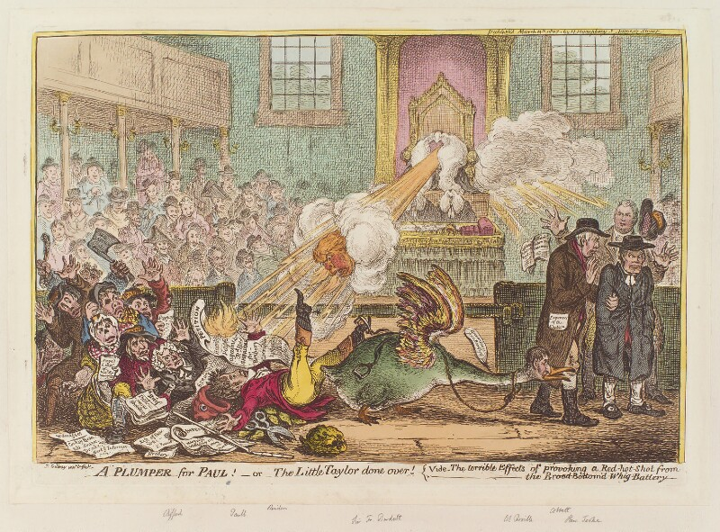 'A plumper for Paul! - or - the little taylor done over!', by James Gillray, published by  Hannah Humphrey, published 13 March 1807 - NPG D12886 - © National Portrait Gallery, London