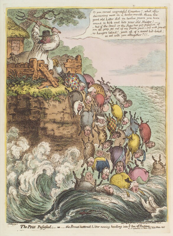 'The pigs possessed: - or - the Broad Bottom'd litter running headlong into ye sea of perdition', by James Gillray, published by  Hannah Humphrey, published 18 April 1807 - NPG D12888 - © National Portrait Gallery, London