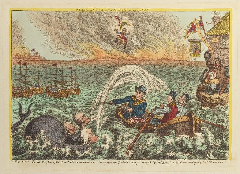 'British tars, towing the Danish fleet into harbour', by James Gillray, published by  Hannah Humphrey, published 1 October 1807 - NPG D12896 - © National Portrait Gallery, London