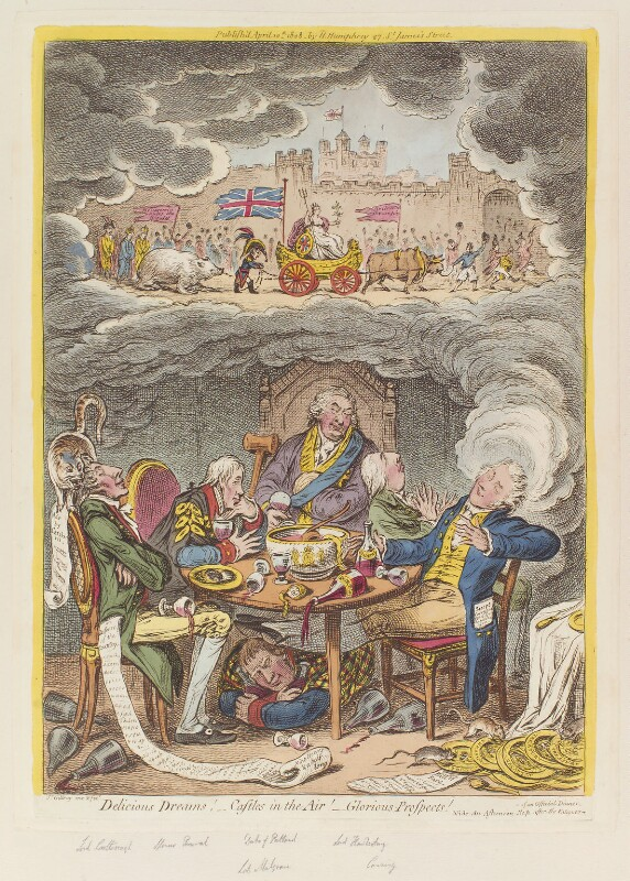 'Delicious dreams! - Castles in the air! - Glorious prospects!', by James Gillray, published by  Hannah Humphrey, published 10 April 1808 - NPG D12905 - © National Portrait Gallery, London