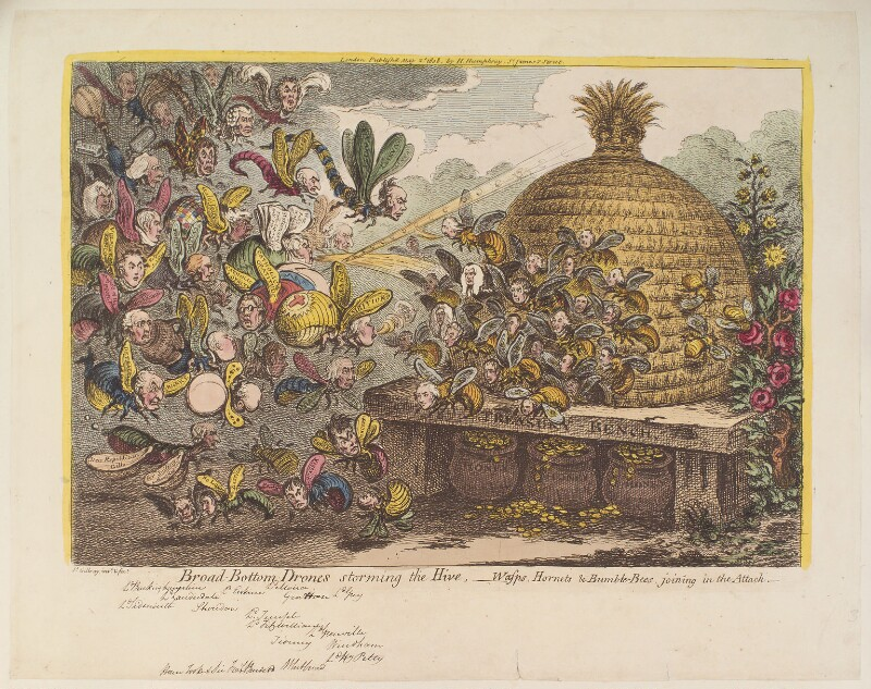'Broad-bottom drones storming the hive - wasps, hornets & bumble bees, joining in the attack', by James Gillray, published by  Hannah Humphrey, published 2 May 1808 - NPG D12906 - © National Portrait Gallery, London