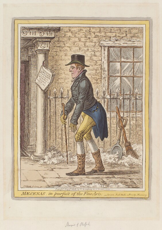 George Granville Leveson-Gower, 1st Duke of Sutherland ('Mæcenas, in pursuit of the fine arts'), by James Gillray, published by  Hannah Humphrey, published 9 May 1808 - NPG D12907 - © National Portrait Gallery, London