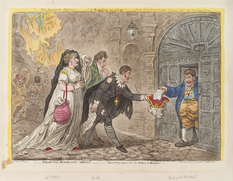 'Theatrical mendicants, relieved', by James Gillray, published by  Hannah Humphrey, published 15 January 1809 - NPG D12915 - © National Portrait Gallery, London