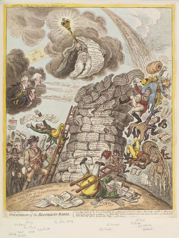 'Overthrow of the Republican-Babel', by James Gillray, published by  Hannah Humphrey, published 1 May 1809 - NPG D12921 - © National Portrait Gallery, London