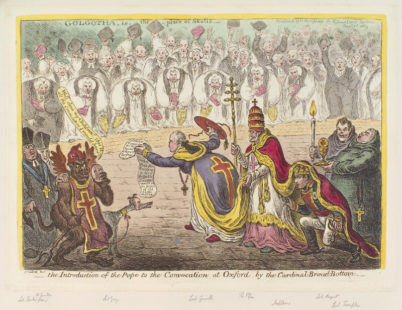 'The introduction of the Pope to the convocation at Oxford, by the Cardinal Broad-Bottom', by James Gillray, published by  Hannah Humphrey, published 1 December 1809 - NPG D12933 - © National Portrait Gallery, London