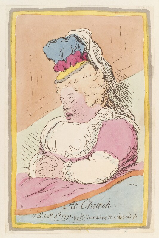 Albinia, Countess of Buckinghamshire ('At church'), by James Gillray, published by  Hannah Humphrey, published 4 October 1791 - NPG D12961 - © National Portrait Gallery, London