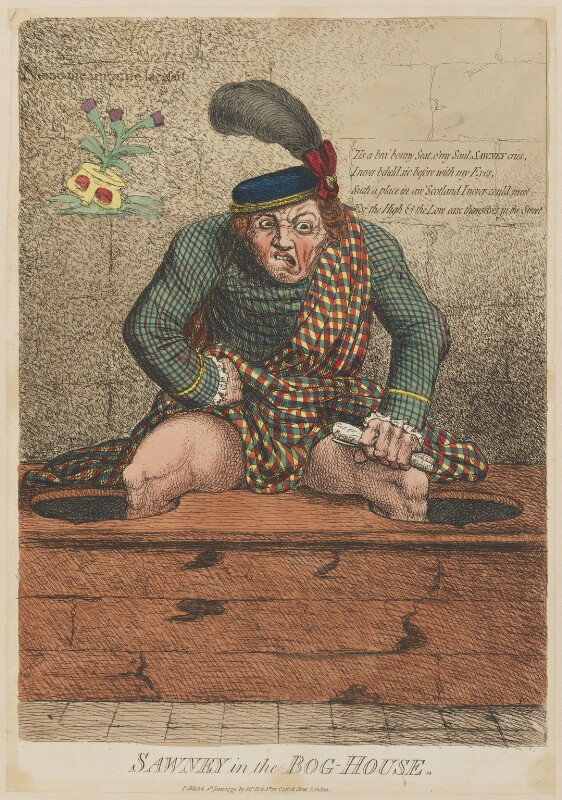 'Sawney in the bog-house', by James Gillray, published by  Mrs Holt, published 4 June 1779 - NPG D12978 - © National Portrait Gallery, London