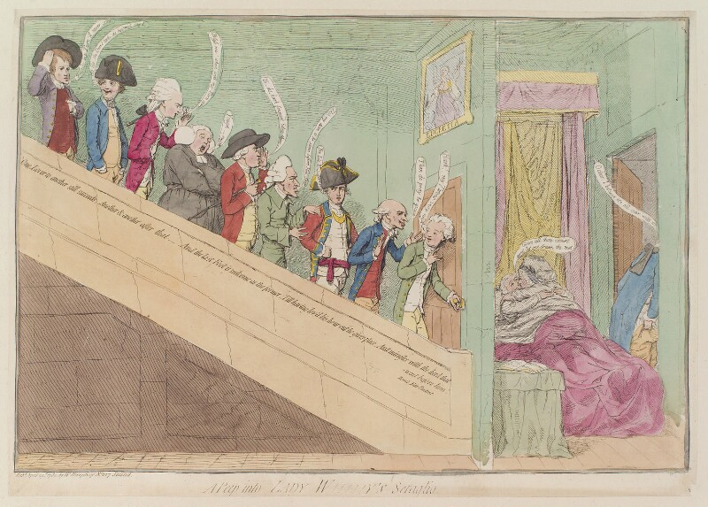 Seymour Dorothy, Lady Worsley ('A peep into Lady W!!!!!y's seraglio'), by James Gillray, published by  William Humphrey, published 29 April 1782 - NPG D12984 - © National Portrait Gallery, London