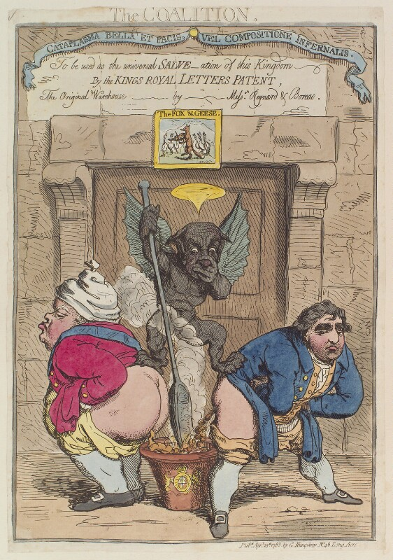 'The coalition' (Frederick North, 2nd Earl of Guilford; Charles James Fox), by James Gillray, published by  George Humphrey, published 25 April 1783 - NPG D12991 - © National Portrait Gallery, London
