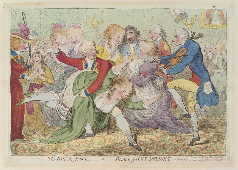 'The royal joke, - or - black jacks delight', by James Gillray, published by  Samuel William Fores, published 25 April 1788 - NPG D12996 - © National Portrait Gallery, London
