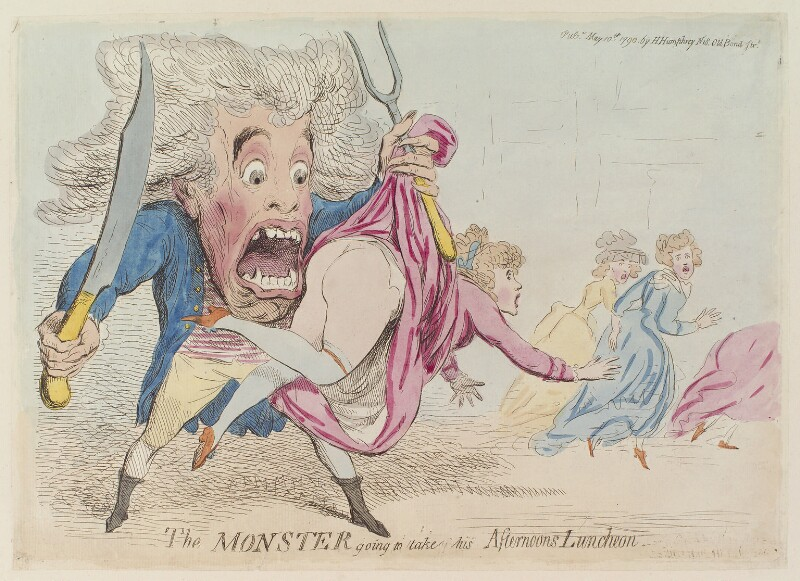 'The monster going to take his afternoons luncheon', by James Gillray, published by  Hannah Humphrey, published 10 May 1790 - NPG D13000 - © National Portrait Gallery, London