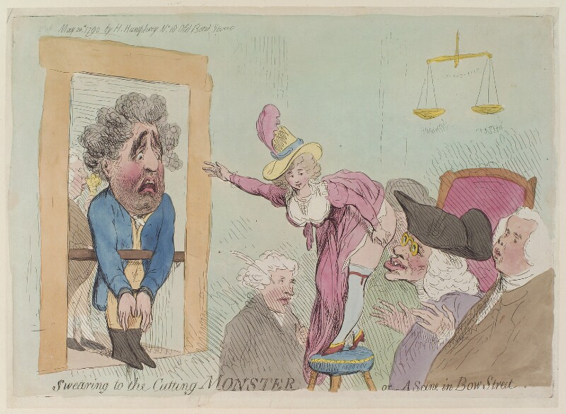 'Swearing to the cutting monster or- a scene in Bow Street', by James Gillray, published by  Hannah Humphrey, published 20 May 1790 - NPG D13001 - © National Portrait Gallery, London